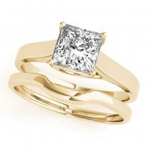 Diamond Princess Cut Solitaire Bridal Set 14k Yellow Gold (1.24ct)