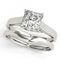 Diamond Princess Cut Solitaire Bridal Set Palladium (1.24ct)