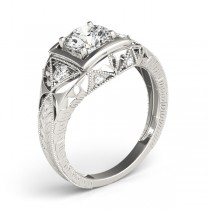 Vintage Victorian Diamond Engagement Ring 14k White Gold (0.57ct)