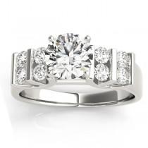 Diamond Channel Set Antique Engagement Ring 14k White Gold (0.48ct)