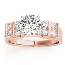 Diamond Chanel Set Double Row Engagement Ring 14k Rose Gold (0.48ct)