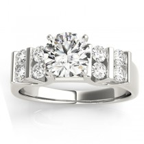 Diamond Chanel Set Antique Engagement Ring 18k White Gold (0.48ct)