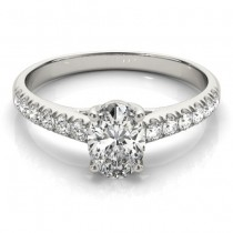 Oval Cut Diamond Engagement Ring 14K White Gold (0.39ct)