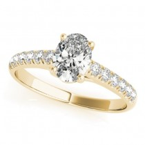Oval Cut Diamond Engagement Ring 14K Yellow Gold (0.39ct)