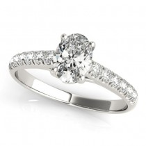 Oval Cut Diamond Engagement Ring Palladium (0.39ct)