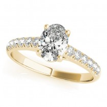 Oval Cut Diamond Engagement Ring 14K Yellow Gold (0.61ct)