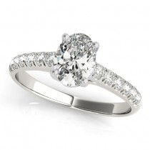 Oval Cut Diamond Engagement Ring Palladium (0.61ct)