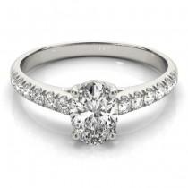 Oval Cut Diamond Engagement Ring Palladium (0.61ct)