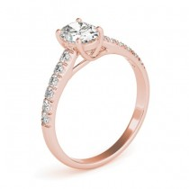 Diamond Accented Cathedral Engagement Ring 14K Rose Gold (0.18ct)