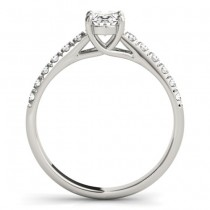 Diamond Accented Cathedral Engagement Ring 14K White Gold (0.18ct)