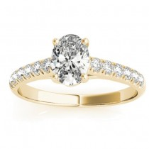 Diamond Accented Cathedral Engagement Ring 14K Yellow Gold (0.18ct)