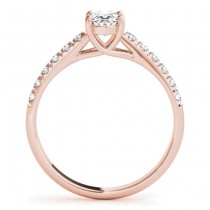 Diamond Accented Cathedral Engagement Ring 18K Rose Gold (0.18ct)