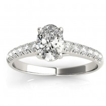 Diamond Accented Cathedral Engagement Ring 18K White Gold (0.18ct)