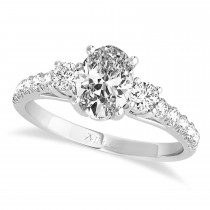 Oval Cut Diamond Engagement Ring Setting 14k White Gold (1.15ct)