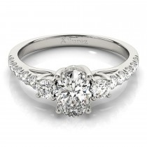 Oval Cut Diamond Engagement Ring 14k White Gold (1.40ct)