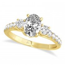 Oval Cut Diamond Engagement Ring Setting 18k Yellow Gold (1.15ct)