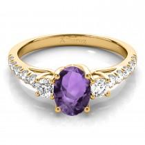 Oval Cut Amethyst & Diamond Engagement Ring 14k Yellow Gold (1.40ct)