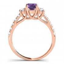 Oval Cut Amethyst & Diamond Engagement Ring 18k Rose Gold (1.40ct)