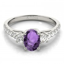 Oval Cut Amethyst & Diamond Engagement Ring 18k White Gold (1.40ct)