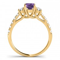 Oval Cut Amethyst & Diamond Engagement Ring 18k Yellow Gold (1.40ct)