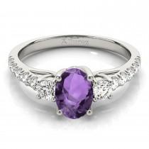 Oval Cut Amethyst & Diamond Engagement Ring Palladium (1.40ct)