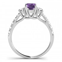 Oval Cut Amethyst & Diamond Engagement Ring Platinum (1.40ct) escape