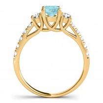 Oval Cut Aquamarine & Diamond Engagement Ring 14k Yellow Gold (1.40ct)