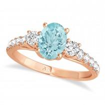 Oval Cut Aquamarine & Diamond Engagement Ring 18k Rose Gold (1.40ct)