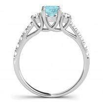 Oval Cut Aquamarine & Diamond Engagement Ring 18k White Gold (1.40ct)
