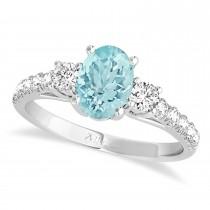 Oval Cut Aquamarine & Diamond Engagement Ring Setting Platinum (1.15ct)