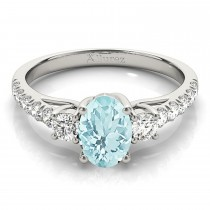 Oval Cut Aquamarine & Diamond Engagement Ring Platinum (1.40ct)