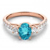 Oval Cut Blue Diamond & Diamond Engagement Ring 14k Rose Gold (1.40ct)