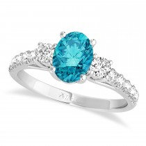 Oval Cut Blue Diamond & Diamond Engagement Ring 14k White Gold (1.40ct)
