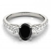 Oval Cut Black Diamond & Diamond Engagement Ring 14k White Gold (1.40ct)