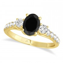 Oval Cut Black Diamond & Diamond Engagement Ring Setting 14k Yellow Gold (1.15ct)