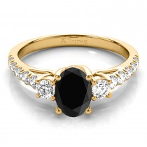 Oval Cut Black Diamond & Diamond Engagement Ring 14k Yellow Gold (1.40ct)