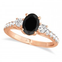 Oval Cut Black Diamond & Diamond Engagement Ring Setting 18k Rose Gold (1.15ct)