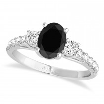 Oval Cut Black Diamond & Diamond Engagement Ring Setting 18k White Gold (1.15ct)