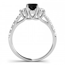 Oval Cut Black Diamond & Diamond Engagement Ring 18k White Gold (1.40ct)