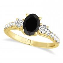 Oval Cut Black Diamond & Diamond Engagement Ring Setting 18k Yellow Gold (1.15ct)