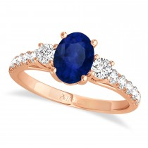 Oval Cut Blue Sapphire & Diamond Engagement Ring 14k Rose Gold (1.40ct)