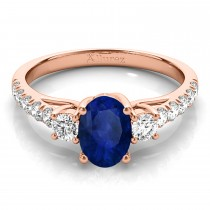 Oval Cut Blue Sapphire & Diamond Engagement Ring 14k Rose Gold (1.40ct)