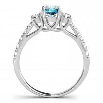Oval Cut Blue Sapphire & Diamond Engagement Ring 14k White Gold (1.40ct)