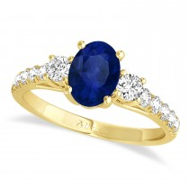 Oval Cut Blue Sapphire & Diamond Engagement Ring 14k Yellow Gold (1.40ct)