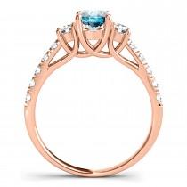 Oval Cut Blue Sapphire & Diamond Engagement Ring 18k Rose Gold (1.40ct)
