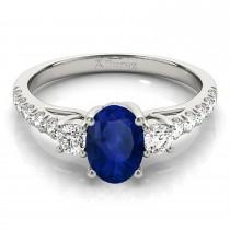 Oval Cut Blue Sapphire & Diamond Engagement Ring 18k White Gold (1.40ct)