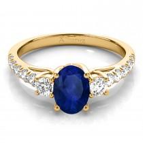 Oval Cut Blue Sapphire & Diamond Engagement Ring 18k Yellow Gold (1.40ct)