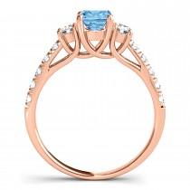 Oval Cut Blue Topaz & Diamond Engagement Ring 14k Rose Gold (1.40ct)