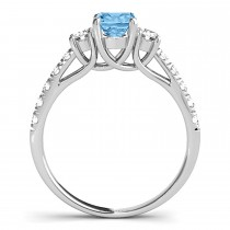 Oval Cut Blue Topaz & Diamond Engagement Ring 14k White Gold (1.40ct)