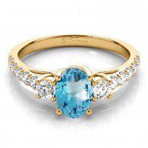 Oval Cut Blue Topaz & Diamond Engagement Ring 14k Yellow Gold (1.40ct)